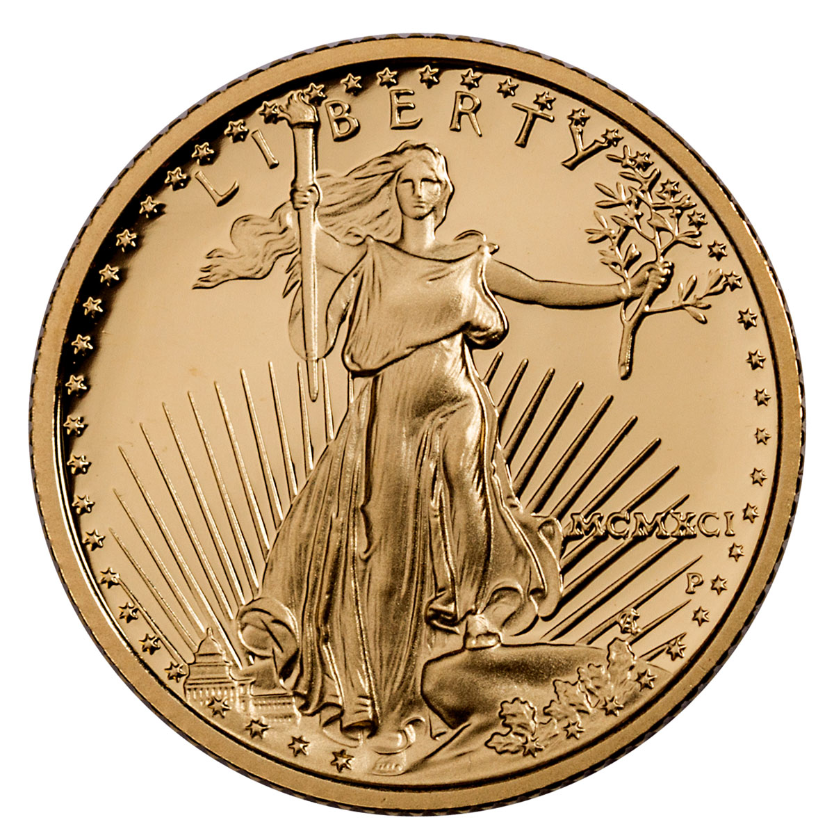1991-P 1/10 oz Gold American Eagle Proof $5