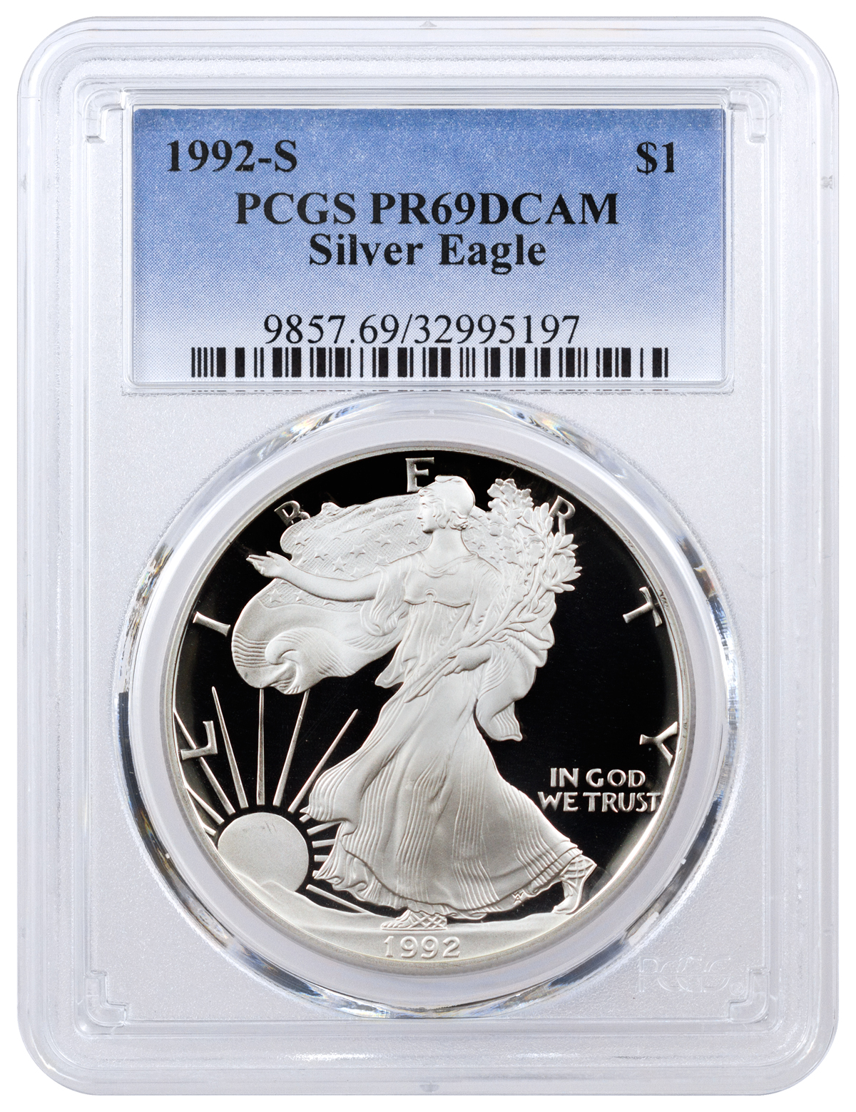 1992 S Proof American Silver Eagle Pcgs Pr69 Dcam