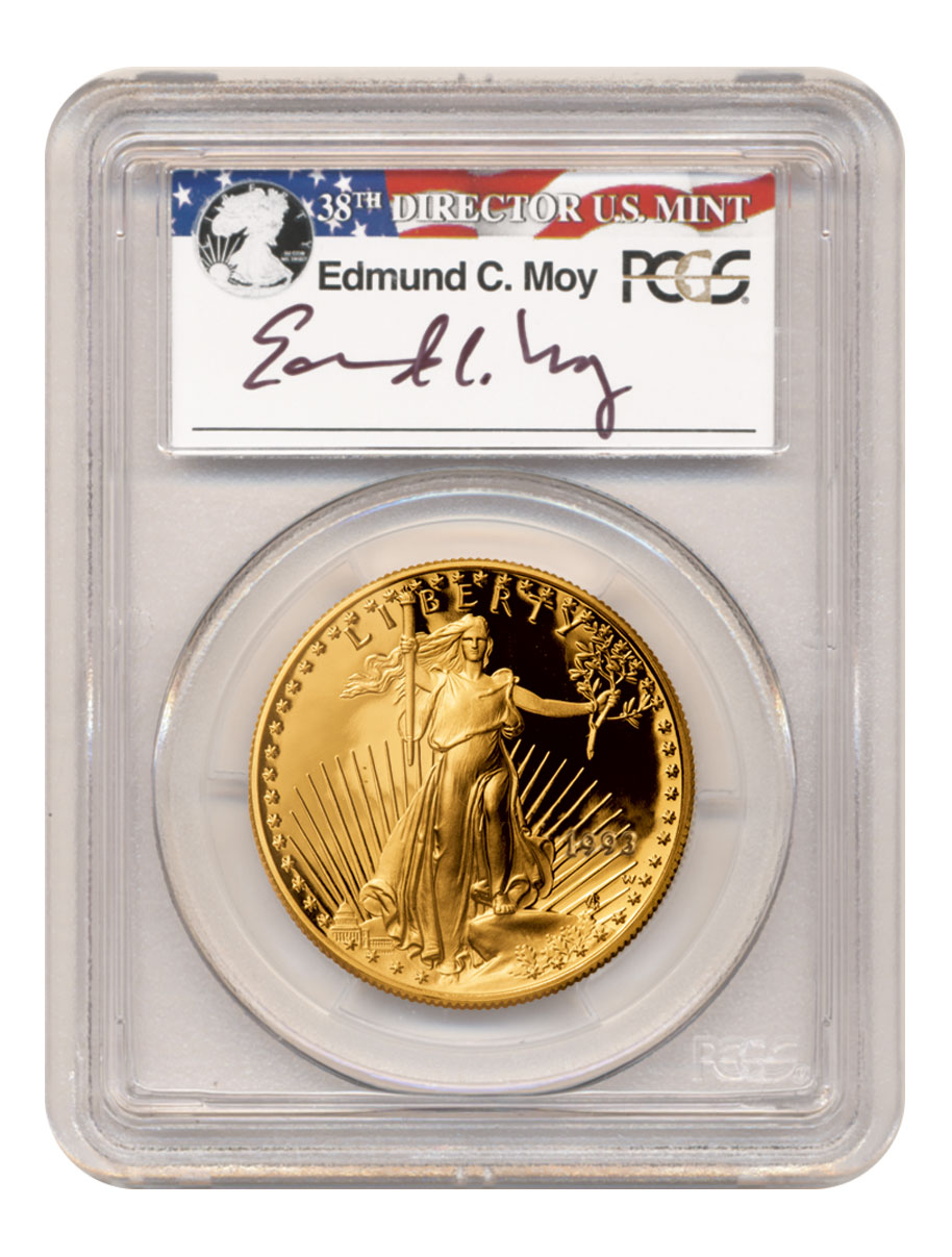 1993-P 1/10 oz Gold American Eagle Proof $5 Scarce and Unique Coin Division PCGS PR70 DCAM Edmund C. Moy Signed Label