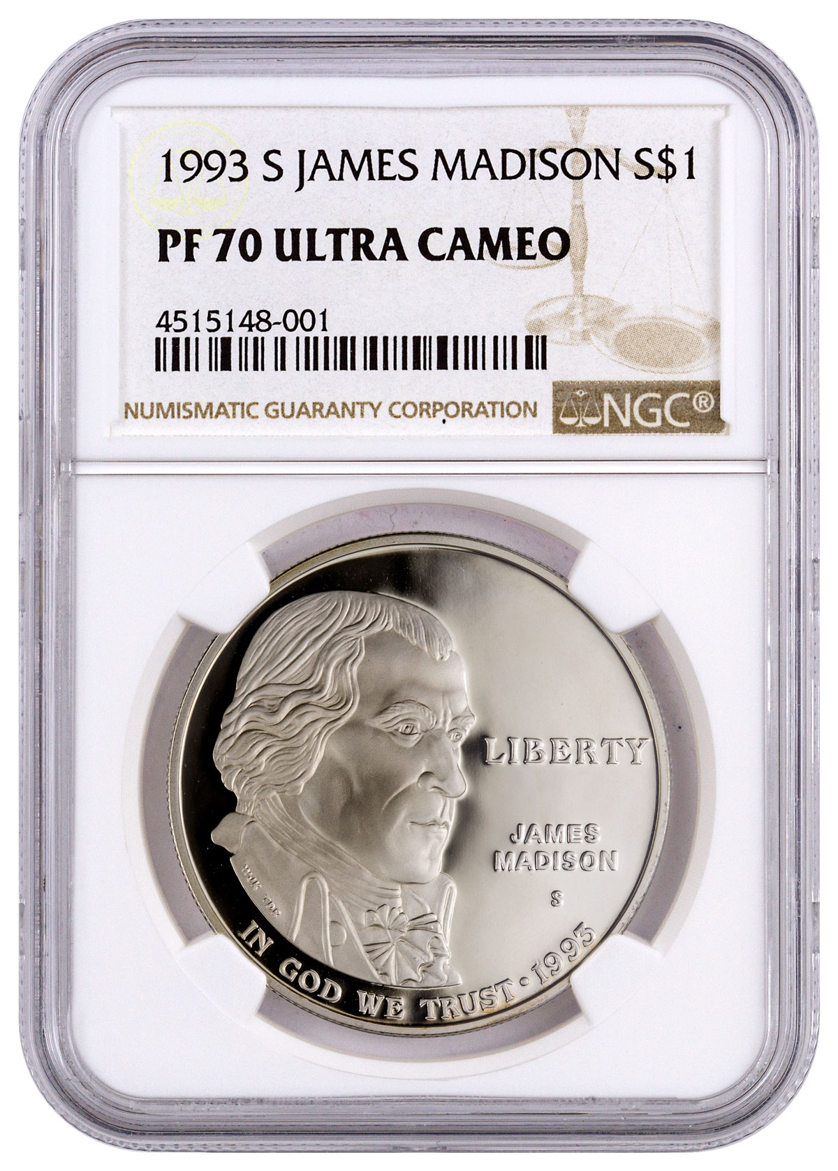 1993-S James Madison (Bill of Rights) Commemorative Silver Dollar Proof NGC PF70 UC