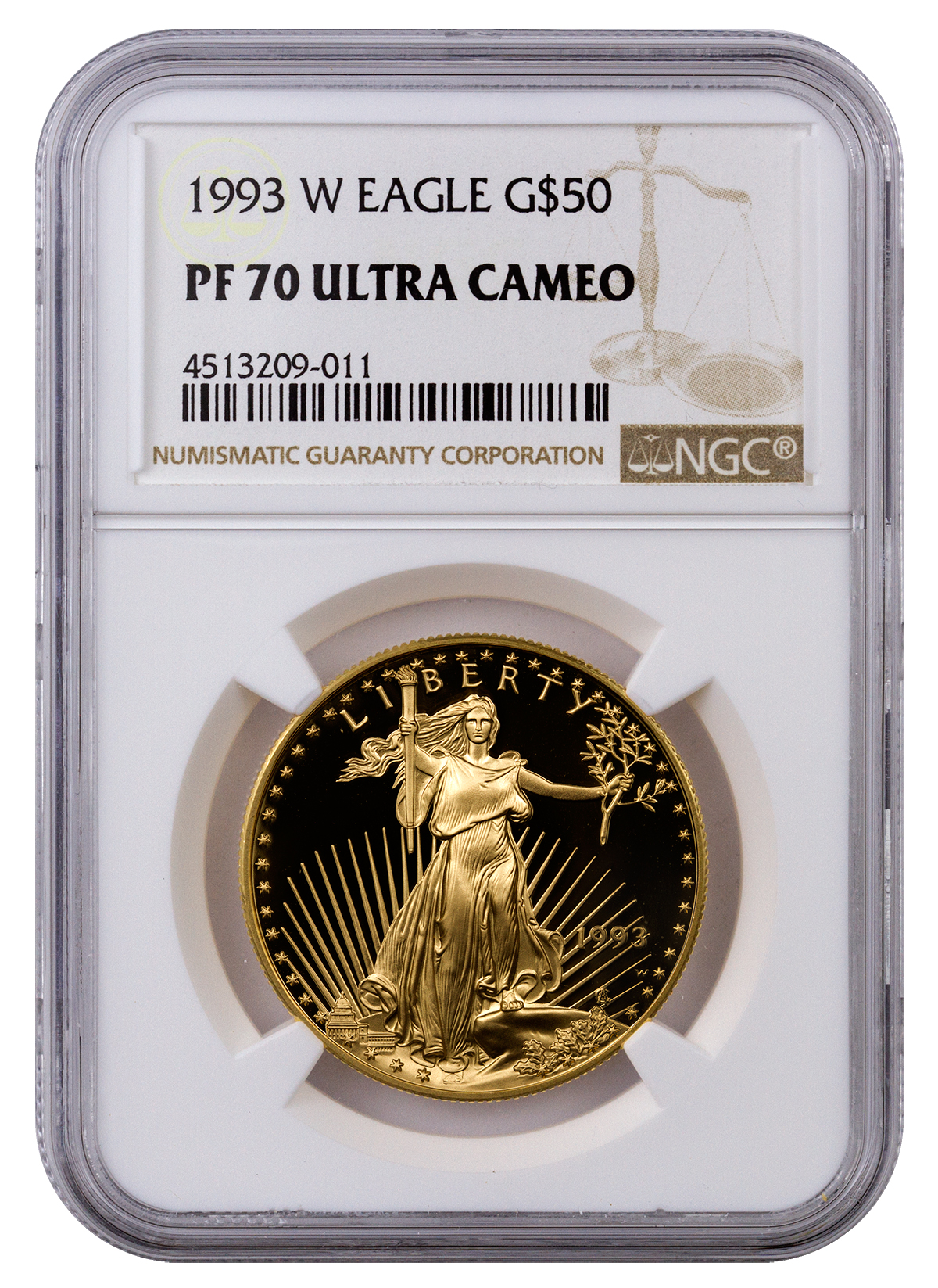 1993 W 1 Oz Gold American Eagle Proof 50 Ngc Pf70 Uc
