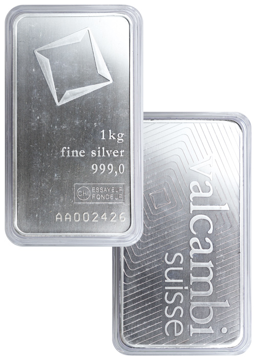 Valcambi Suisse 1 Kilo Glossy Silver Bar - (New Sealed with Assay Certificate)