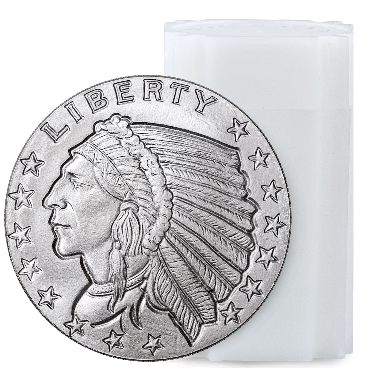 Roll of 20 - Golden State Mint Indian Head Design Incused 1 oz Silver Round BU