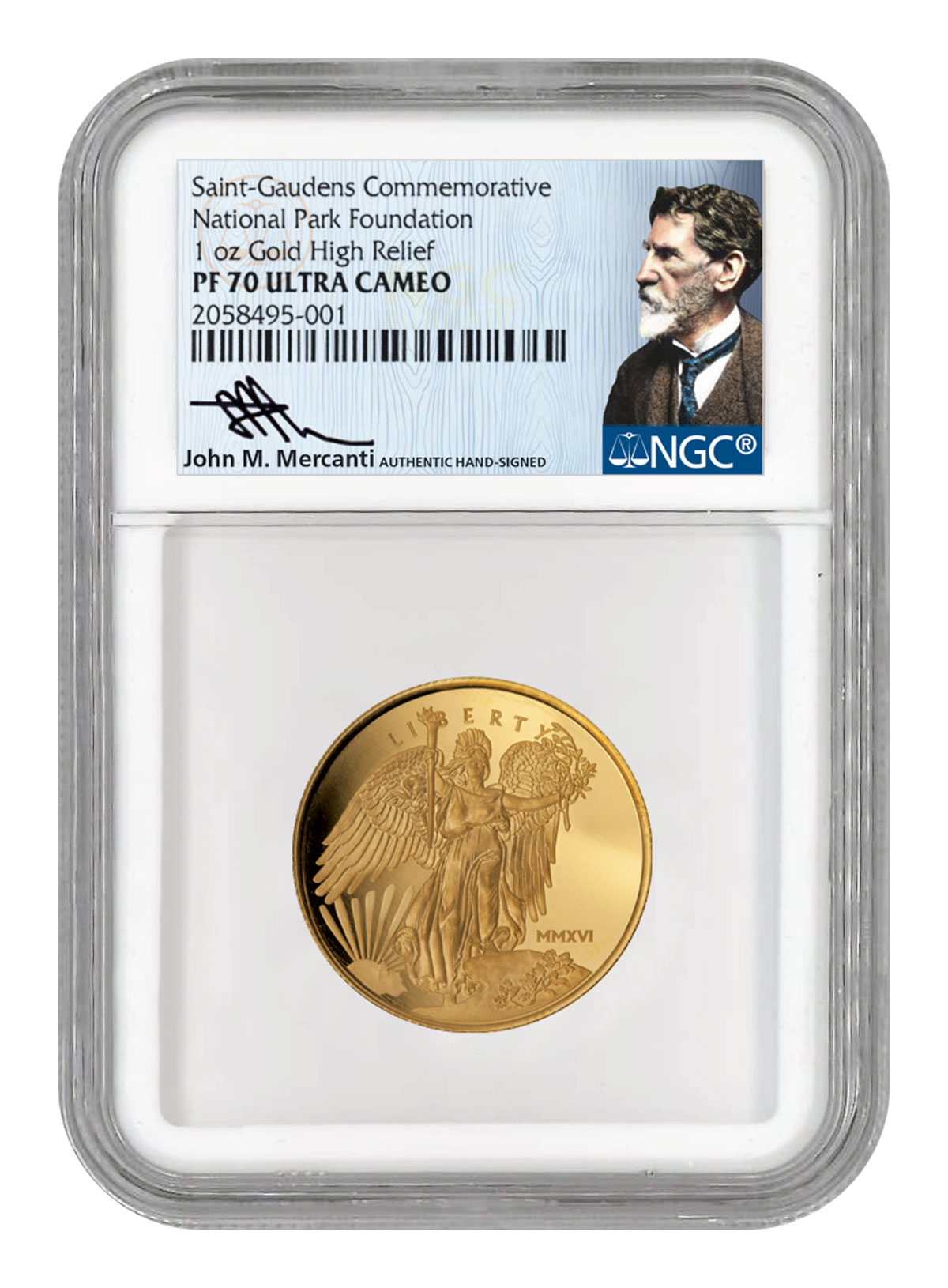 2016 United States Saint-Gaudens Winged Liberty High Relief 1 oz Gold Proof Medal NGC PF70 UC (Mercanti Signed Label)
