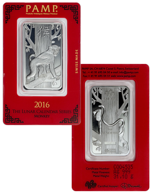 2016 Pamp Lunar Year Of The Monkey 1 Oz Silver Bar In