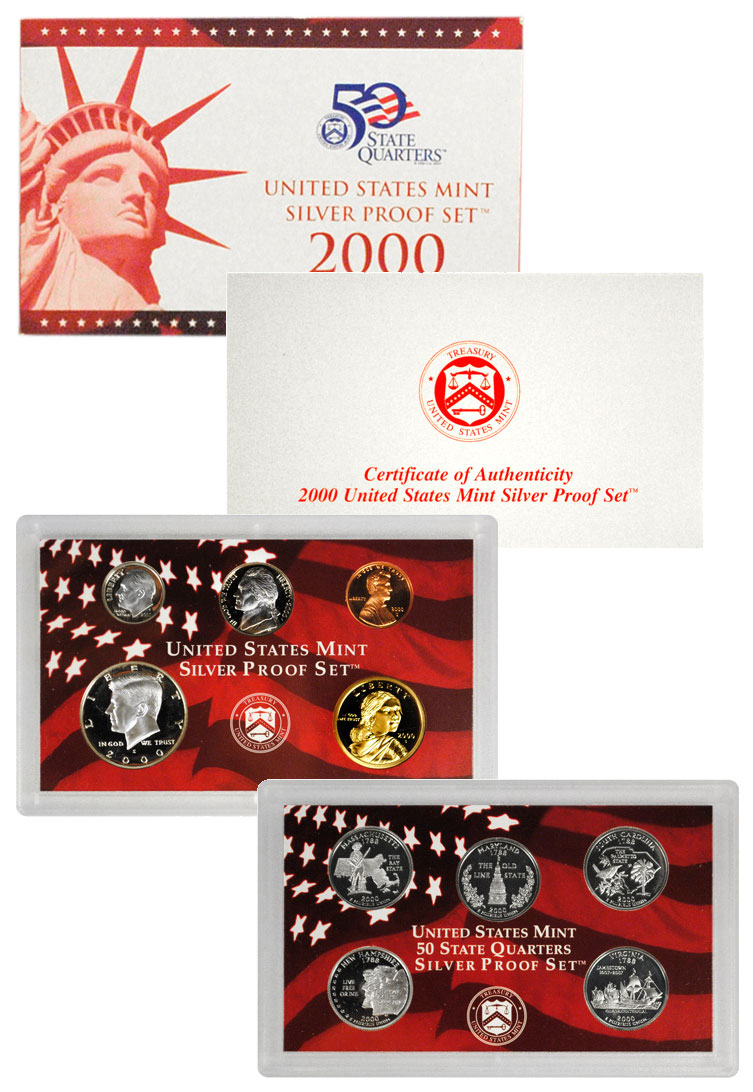 2000-S U.S. Silver Proof Coin Set GEM Proof OGP