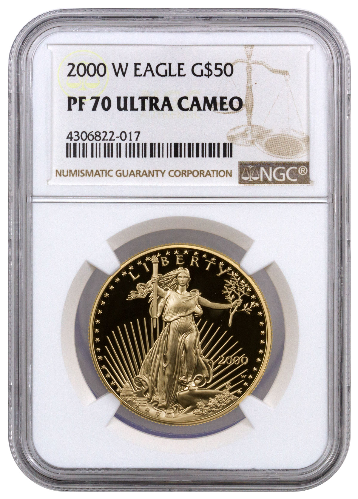 2000-W 1 oz Gold American Eagle Proof $50 NGC PF70 UC