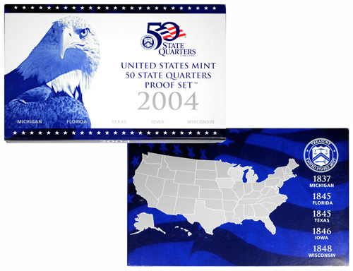 2004-S United States Clad Proof Quarter Coin Set - GEM Proof (Original Government Packaging)