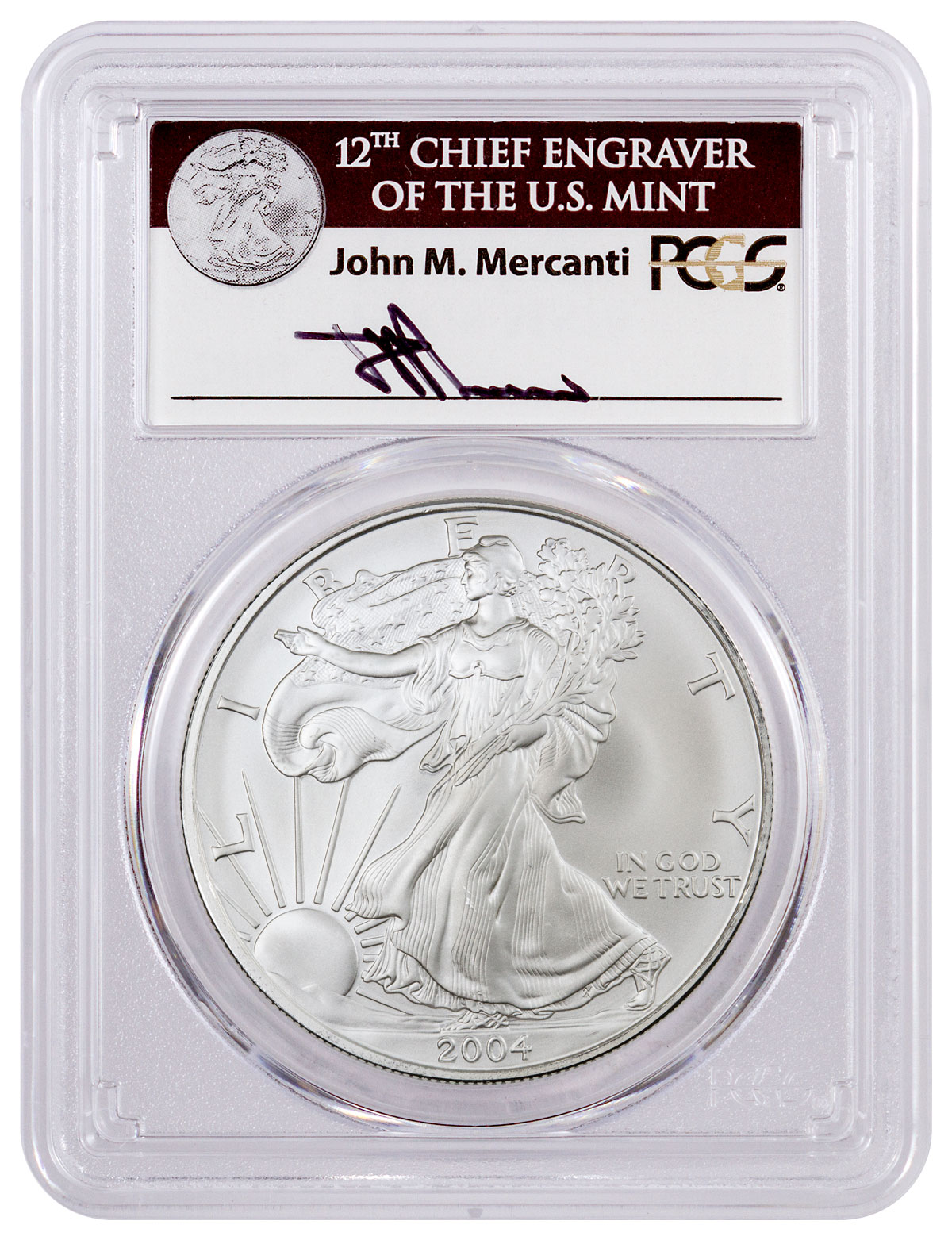 2004 American Silver Eagle Pcgs Ms70 Fs Mercanti Signed