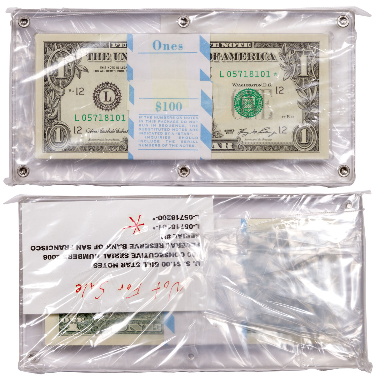 Set of 100 - 2006 $1 United States Bill Star Notes Consecutive Serial Numbers L-05718101-L-05718200 in Sealed Display Block