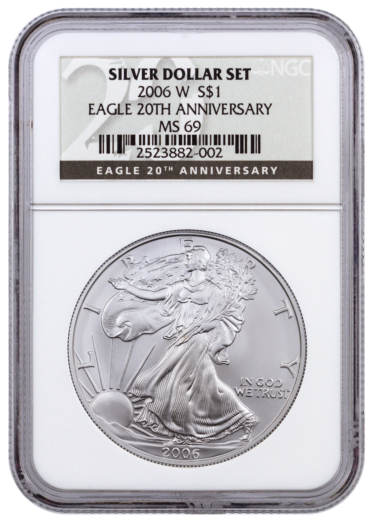 2006-W Burnished Silver Eagle NGC MS69 (20th Anniversary Black Label)