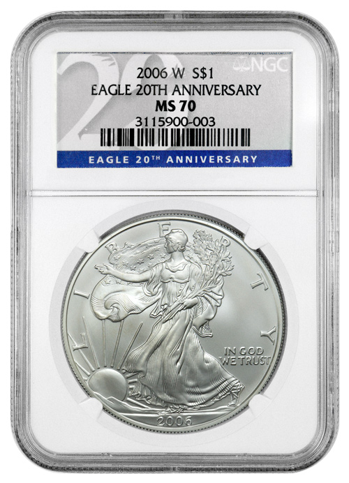 2006 W Burnished Silver Eagle Ngc Ms70 20th Anniversary