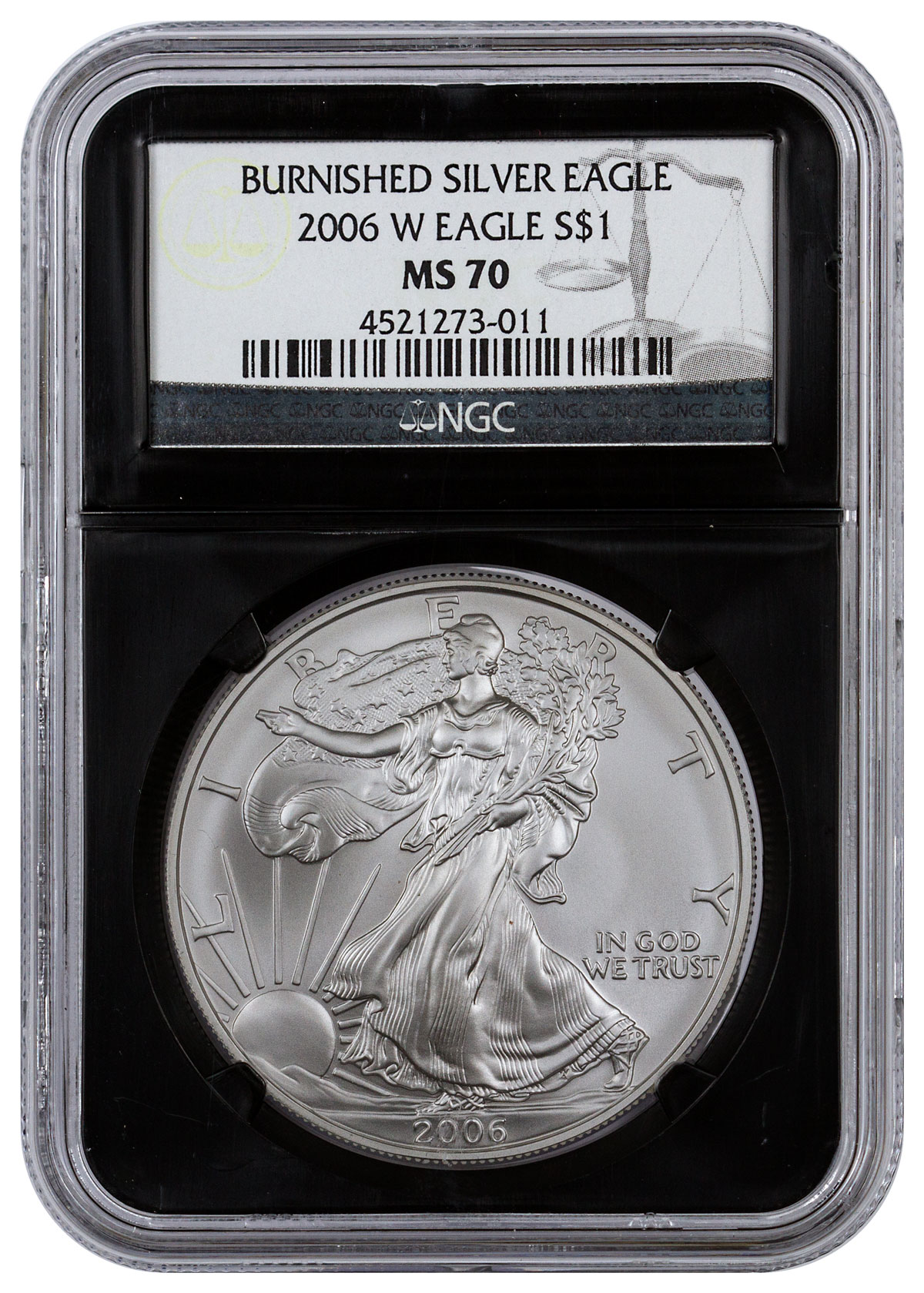 2006 W Burnished Silver Eagle Ngc Ms70 Black Core Holder