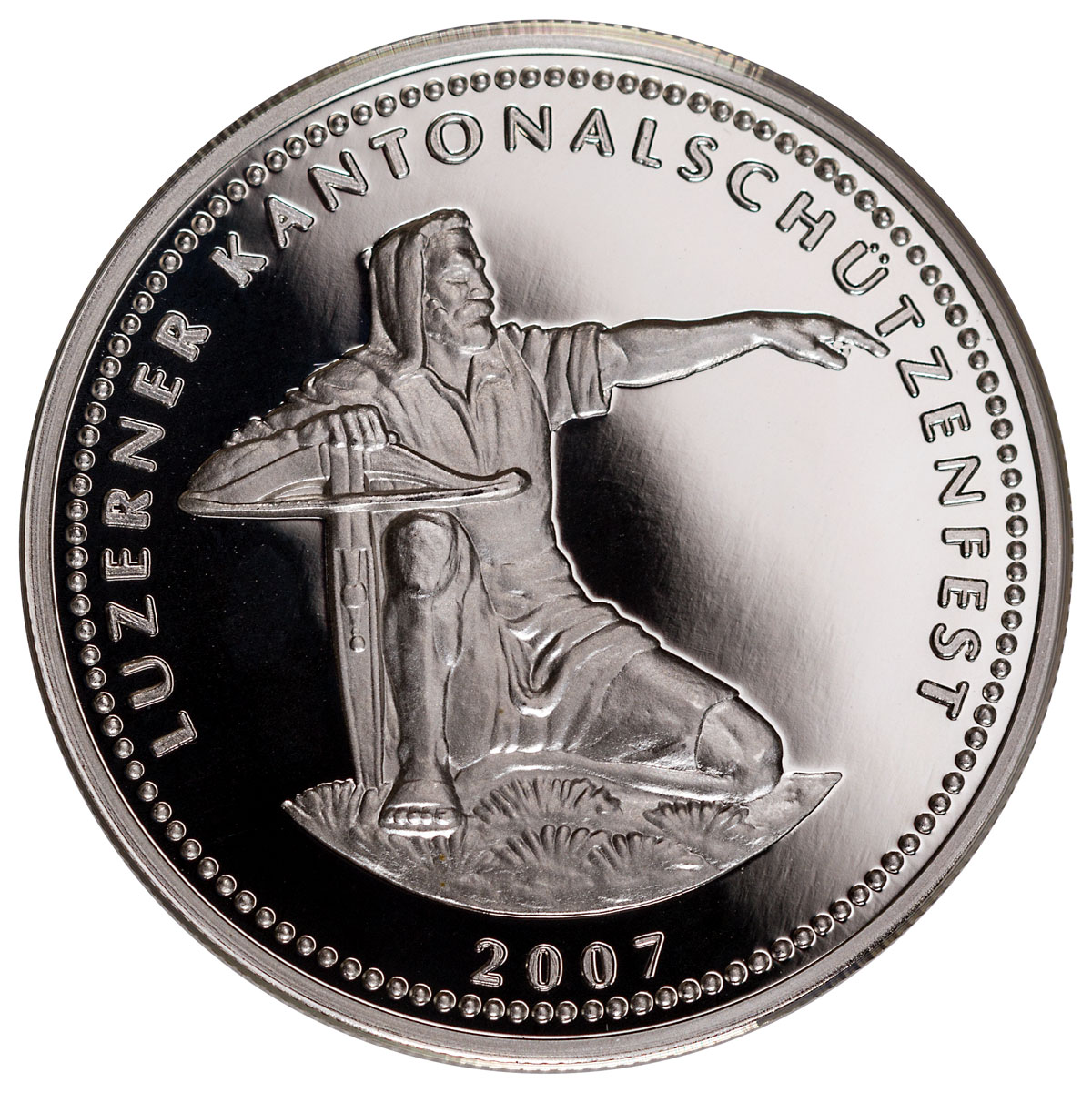 2007 Switzerland Shooting Festival Thaler - Lucerne Silver Proof Fr.50 GEM Proof Original Mint Capsule