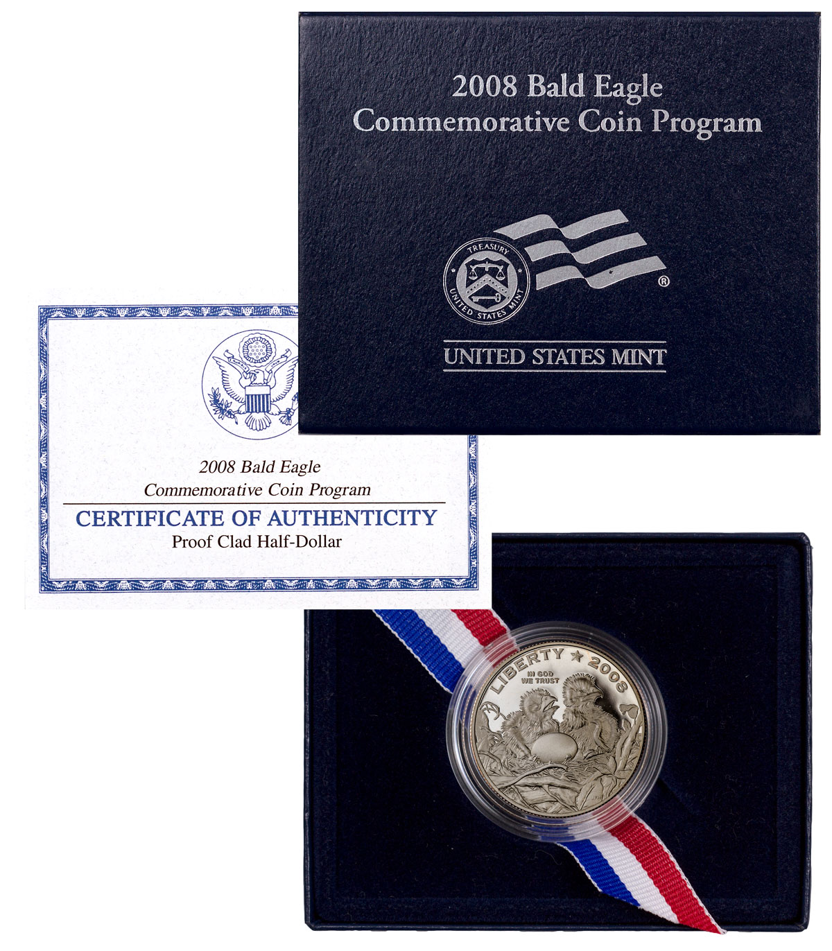 2008-S Bald Eagle Commemorative Clad Half Dollar Proof Coin