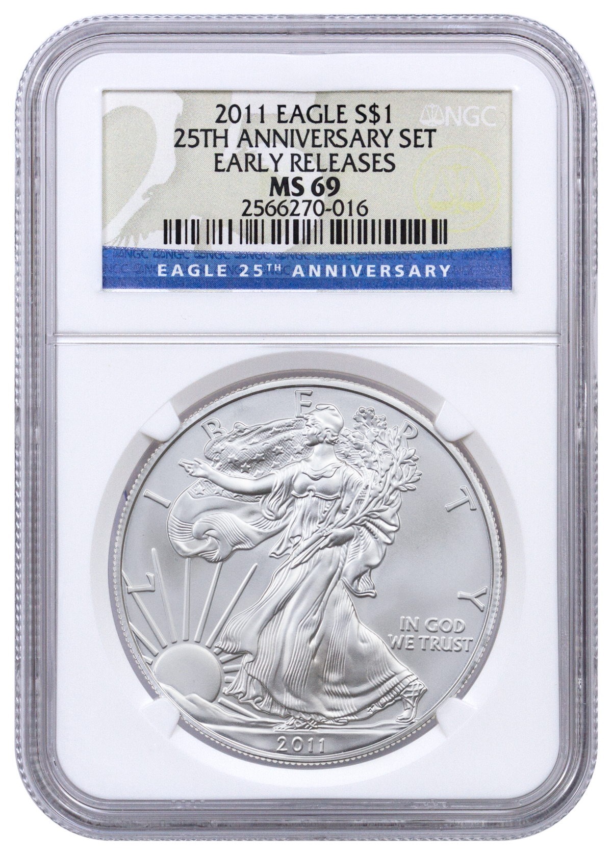 2011 American Silver Eagle 25th Anniversary NGC MS69 ER