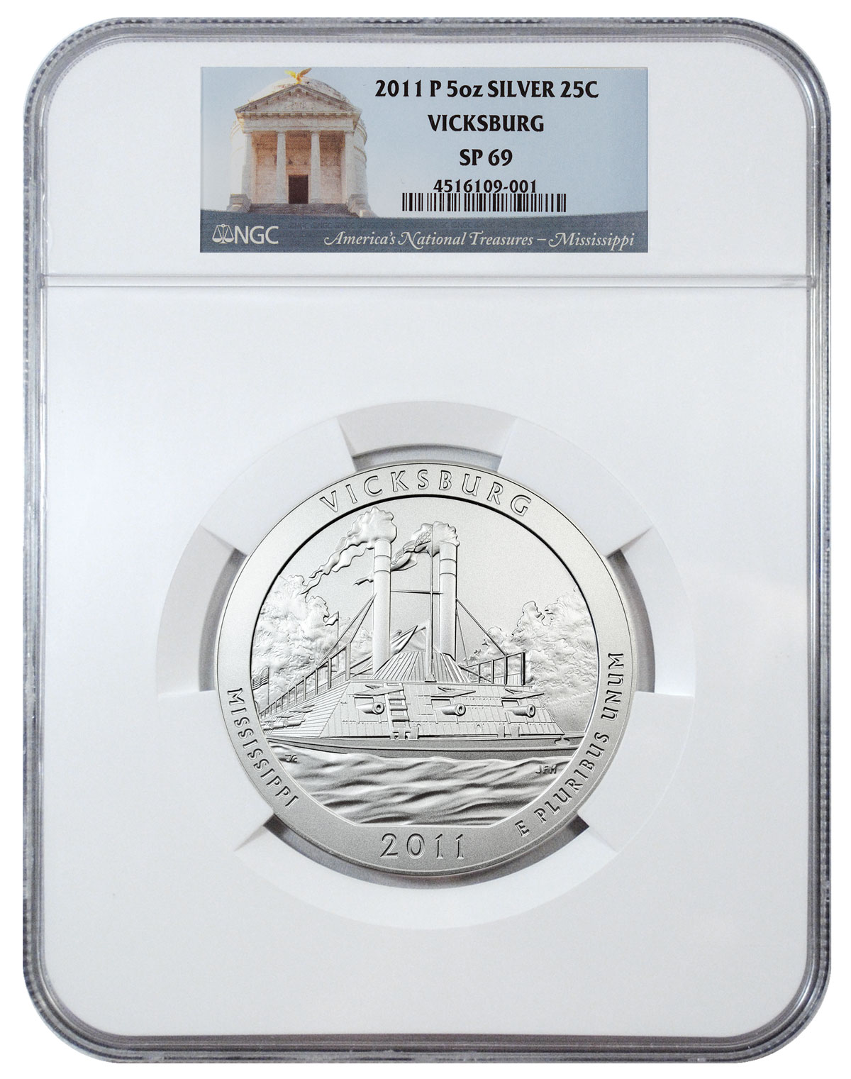 2011-P Vicksburg 5 oz. Silver America the Beautiful Specimen Coin NGC SP69