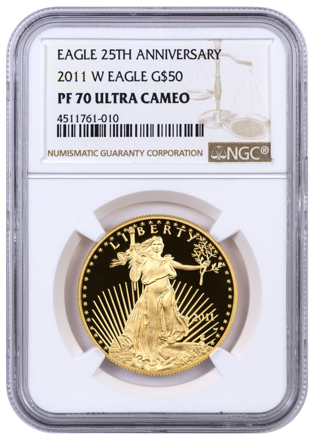 2011 W 1 Oz Gold Eagle Proof 50 25th Anniversary Ngc