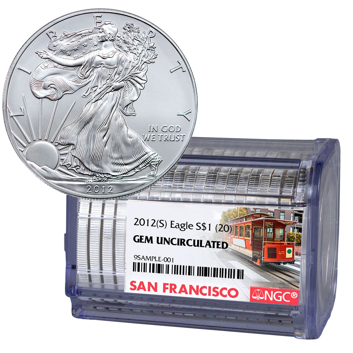 NGC Certified Roll of 20 - 2012-(S) American Silver Eagle Struck at San Francisco GEM BU