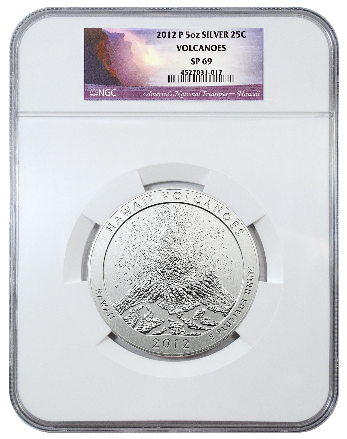 2012-P Hawaii Volcanoes 5 oz. Silver America the Beautiful Specimen Coin NGC SP69