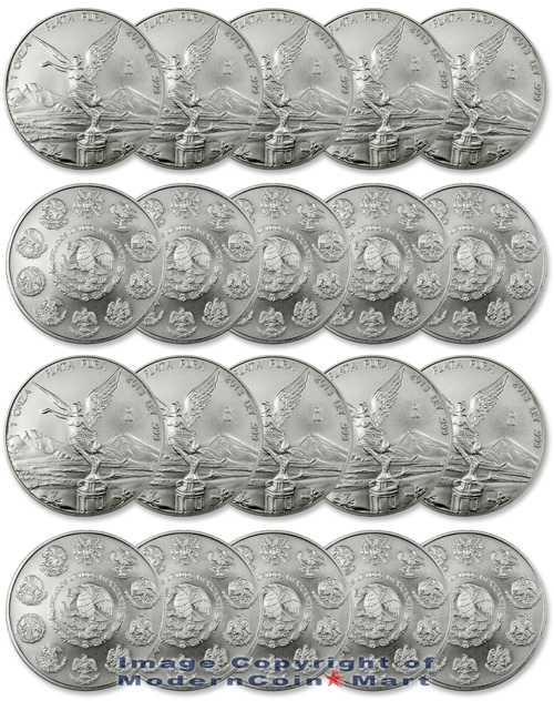 2013 - Roll of 20 Mexico 1 Oz Silver Libertad Onza  Brilliant Uncirculated