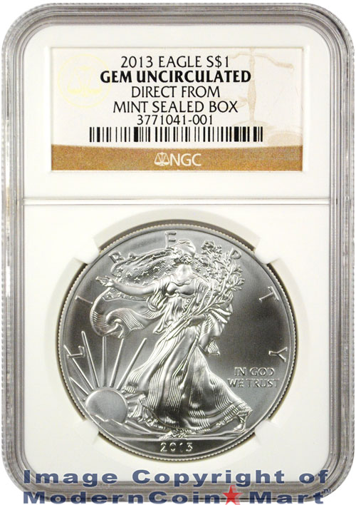 2013 American Silver Eagle NGC GEM BU (Direct From Mint Sealed Box)