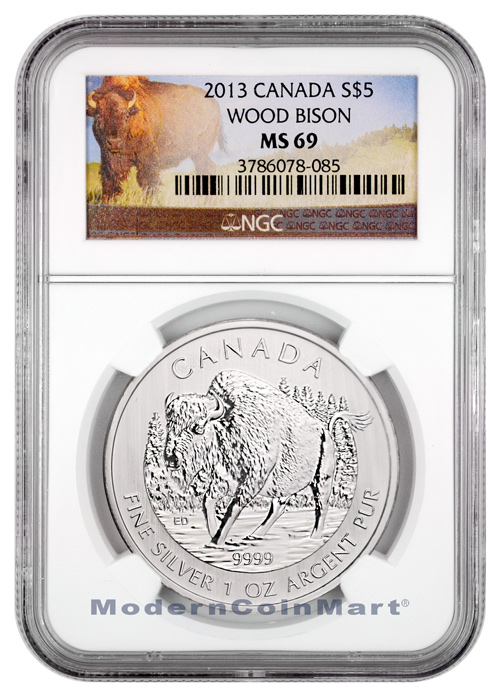 2013 Canada 1 Ounce Silver Wood Bison $5 NGC MS69 Mint State 69 ***BISON LABEL***