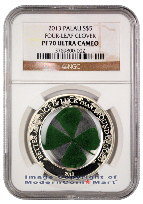 2013 Palau Silver Irish Lucky Four-Leaf Clover $5 Coin NGC PF70 UC Proof 70 Ultra Cameo