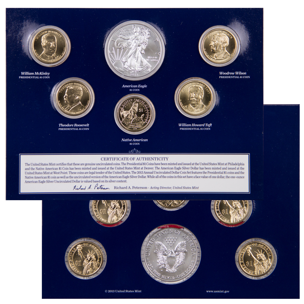 2013 United States Mint Uncirculated Dollar Coin Set - BU (Original Mint Packaging)