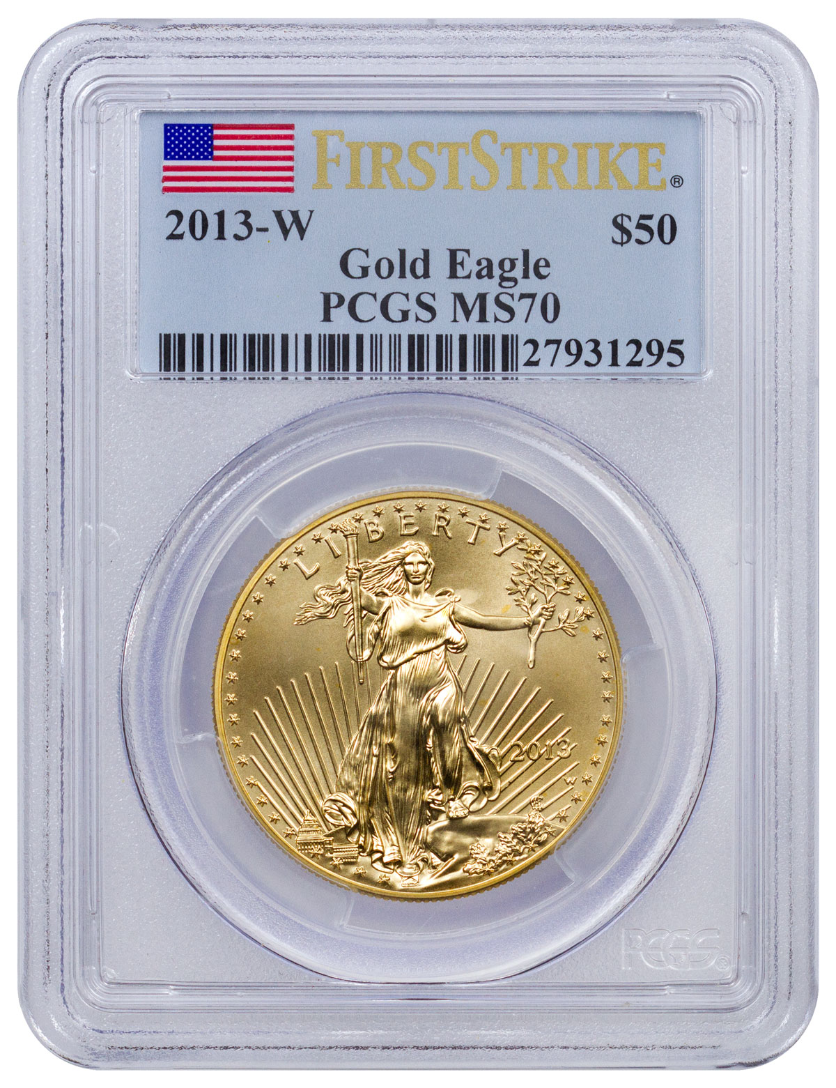 2013-W $50 1 oz. American Gold Eagle - PCGS MS70 First Strike