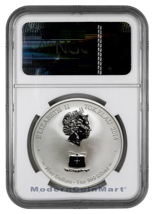 2014 Tokelau 1 oz. Reverse Proof Silver Year of the Horse $5 NGC PF69