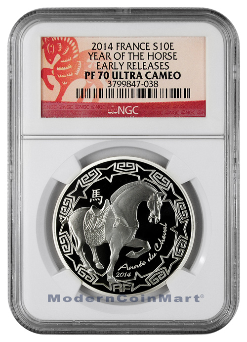 2014 France Silver 10 Euro Lunar Year of the Horse ER NGC PF70 UC ER Proof 70 Ultra Cameo Early Releases ***HORSE LABEL***