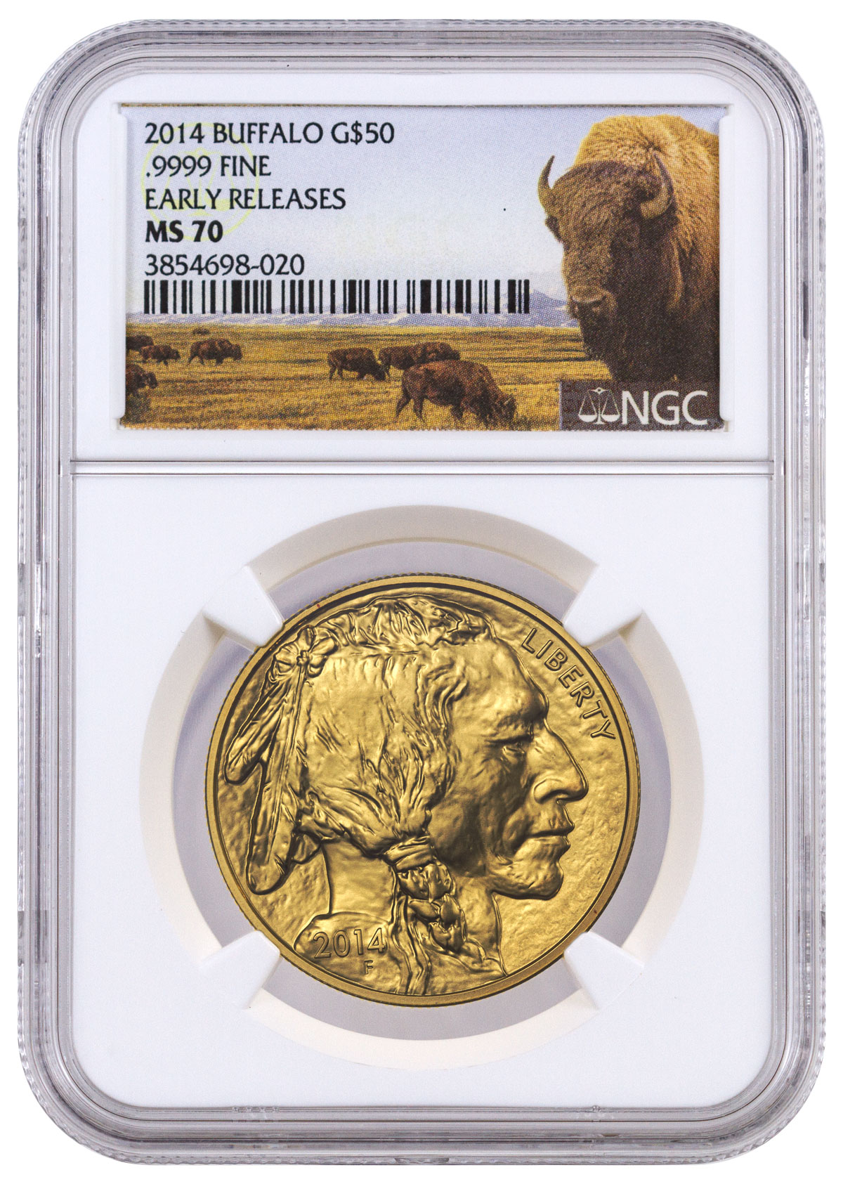2014 1 oz Gold Buffalo $50 Coin NGC MS70 ER (Buffalo Label)
