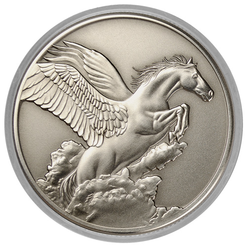 2014 Tokelau 1 oz. $5 Antique-Finish Silver Pegasus - Creatures of