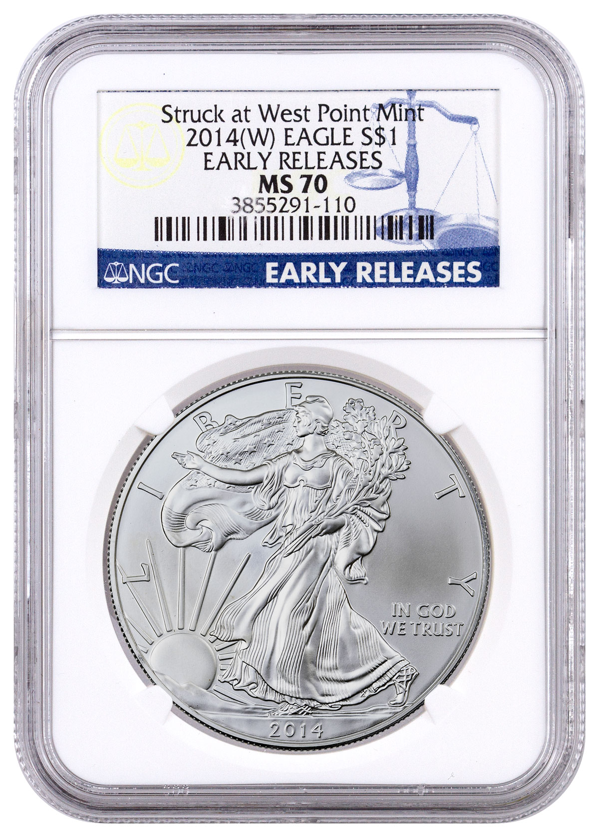 2014-(W) Silver Eagle Struck at West Point NGC MS70 ER