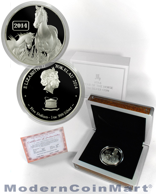 2014 Tokelau Proof 1 oz. Silver Lunar Year of the Horse $5 In Box with Original Government Certificate