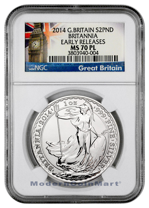 2014 Great Britain 1 oz. .999 Fine Silver Britannia 2pd NGC MS70 PL ER Mint State 70 Proof Like Early Releases ***EXCLUSIVE LABEL***