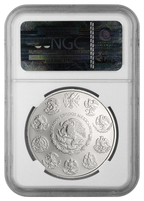 2014 Mexico 1 Troy Oz Silver Libertad 1 Onza NGC MS69 ER Mint State 69