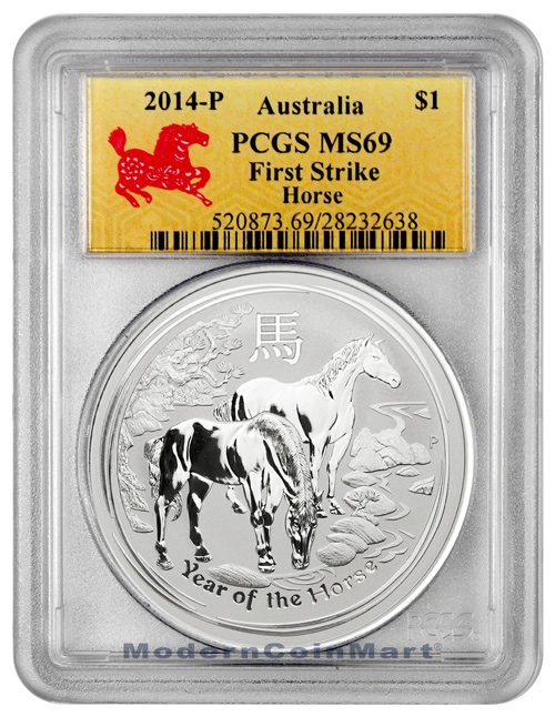 2014-P Australia 1 oz. .999 Silver Lunar (Series 2) Year of the Horse $1 PCGS MS69 FS Mint State 69 First Strike ***HORSE LABEL***