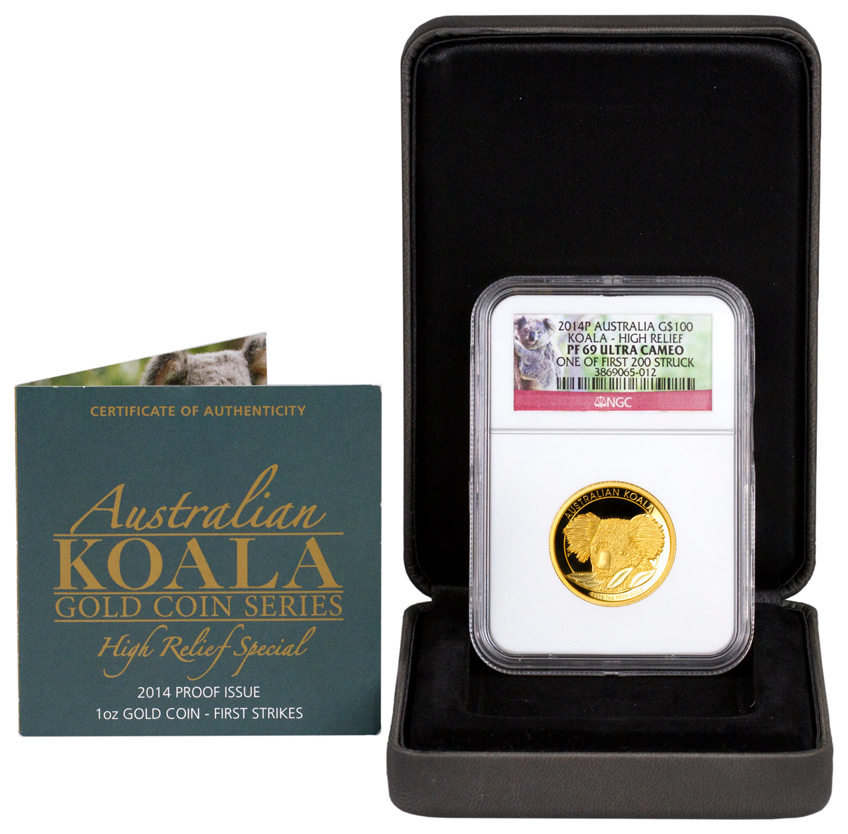 2014-P Australia 1 oz High Relief Gold Koala Proof $100 One of First 200 Struck NGC PF69 UC