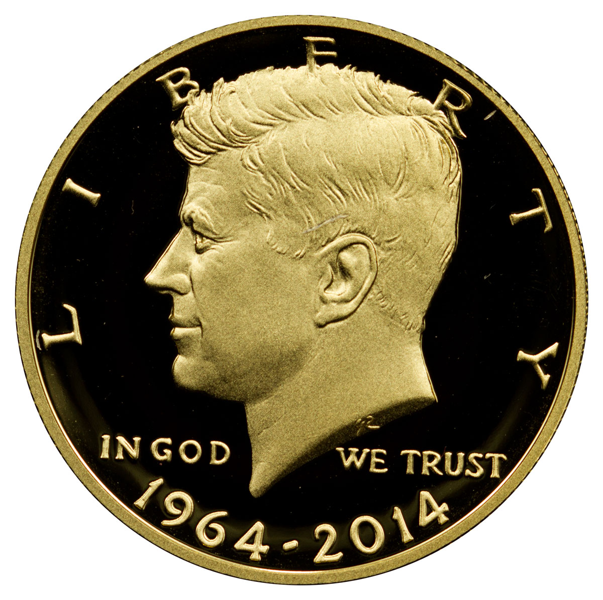 2014-W Gold 50c Kennedy 50th Anniversary High Relief GEM Proof in OGP