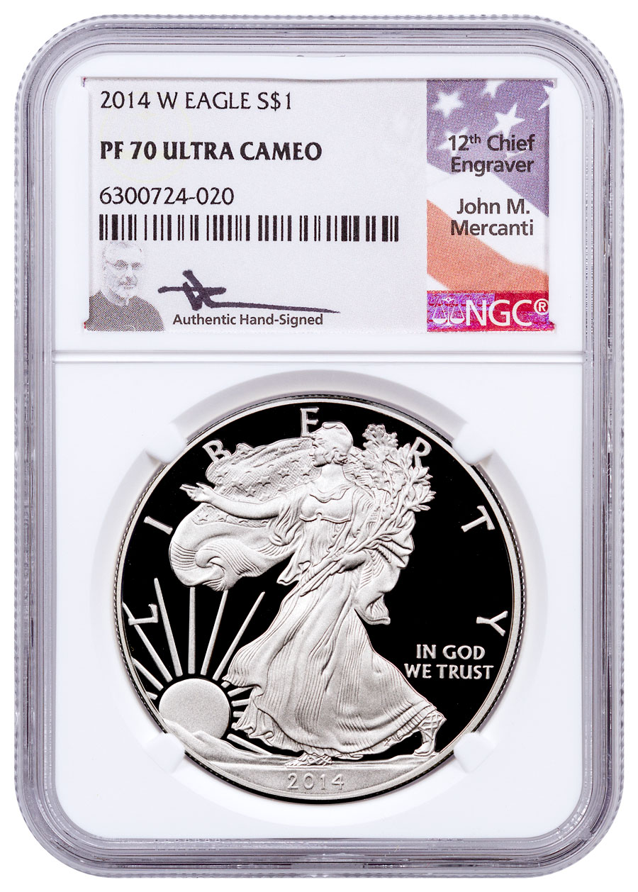 2014-W Proof American Silver Eagle NGC PF70 UC Mercanti Signed Label