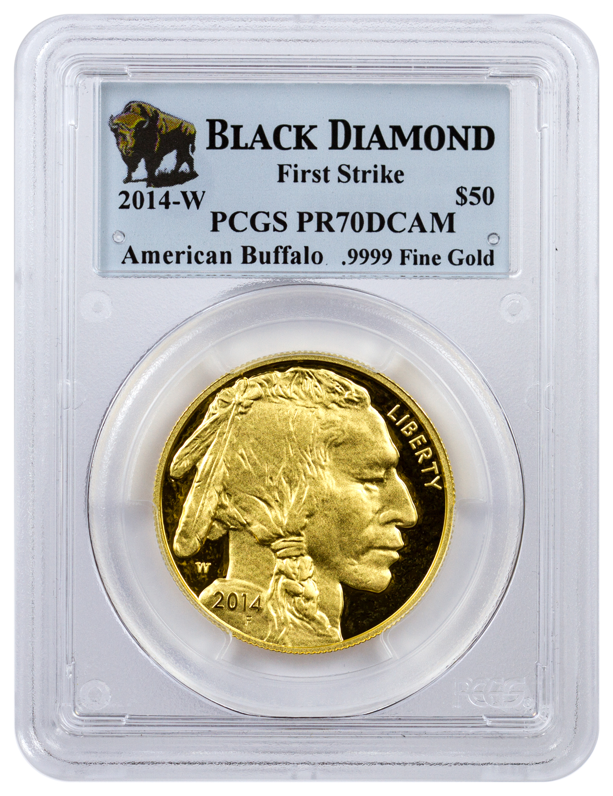 2014-W 1 oz Gold Buffalo Proof $50 PCGS PR70 DCAM FS (Black Diamond Label)