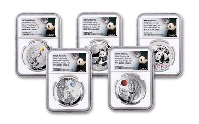 5-Piece Set - 2015-2020 China 1 oz Silver Moon Festival Panda Legacy Set Proof Medals Scarce and Unique Coin Division NGC PF70 UC FDI