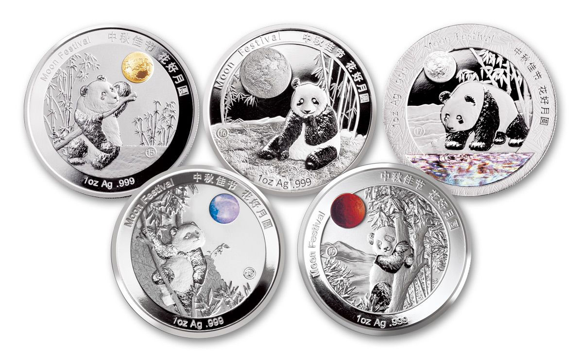 5-Piece Set - 2015-2020 China 1 oz Silver Moon Festival Panda Legacy Set Proof Medals Scarce and Unique Coin Division GEM Proof