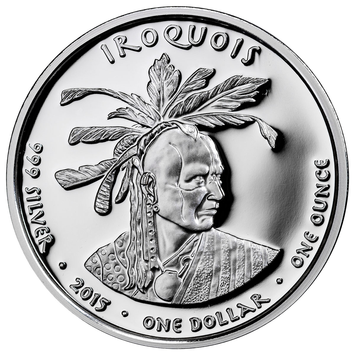 2015 Native American Silver Dollar Iroquois Skunk 1 Oz