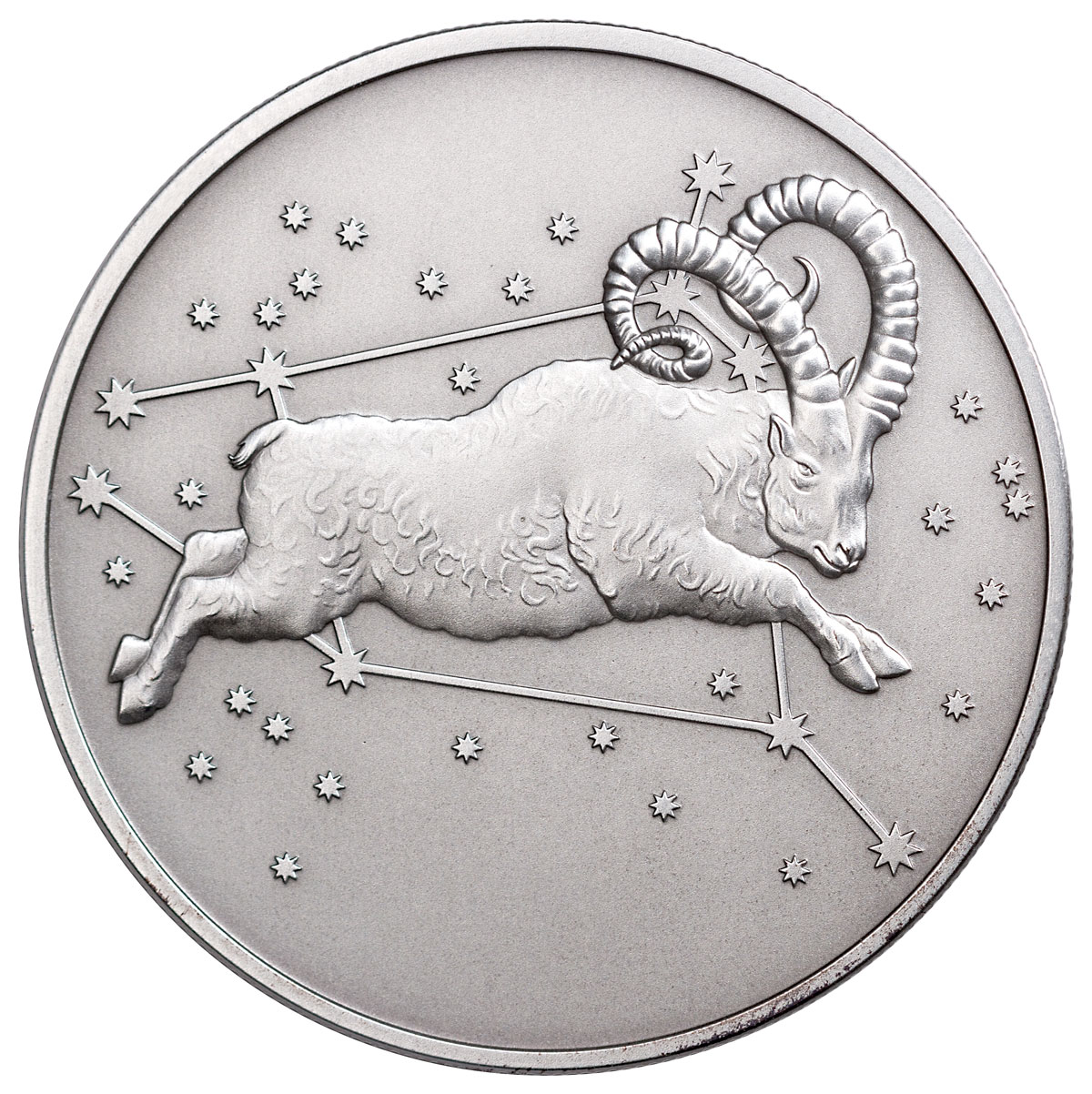 2015 Tokelau Creatures of Myth and Legend - Aries 1 oz Silver Antiqued Matte Proof $5 GEM Proof Original Mint Capsule