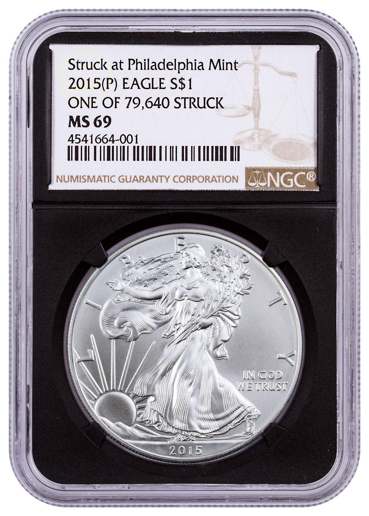 2015-(P) Silver Eagle Struck at Philadelphia One of 79,640 Struck NGC MS69 (Black Core Holder)