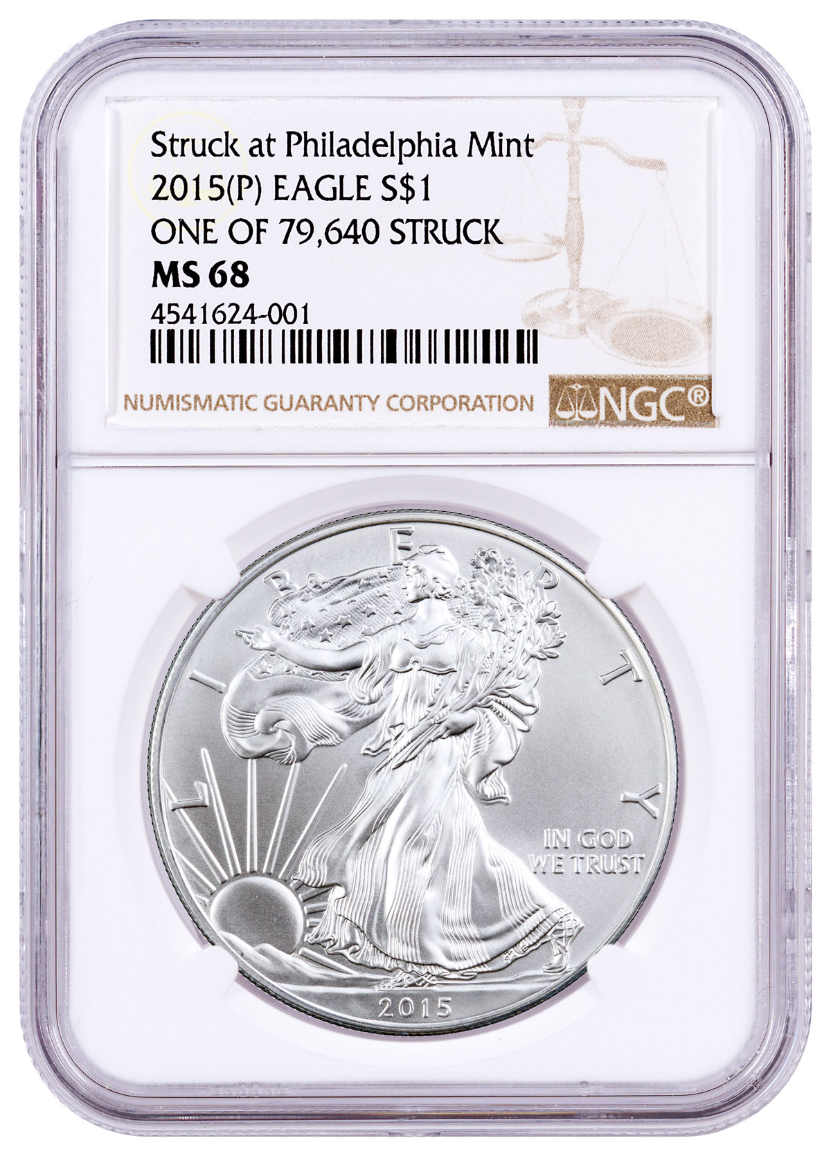2015-(P) Silver Eagle Struck at Philadelphia One of 79,640 Struck NGC MS68