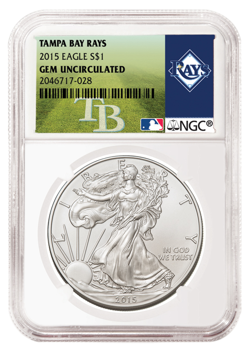 2015 American Silver Eagle - NGC GEM BU (Tampa Bay Rays Label)